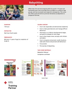 Life Skills First Aid - Babysitting Course