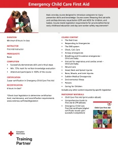 Life Skills First Aid - Emergency Childcare First Aid Course